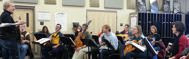 Mike Christiansen leading a workshop for classroom guitar teachers